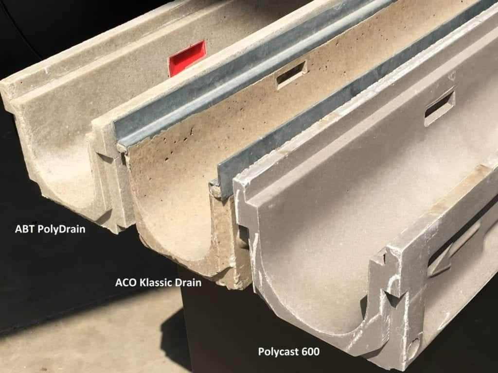 Three variations of polymer concrete channels
