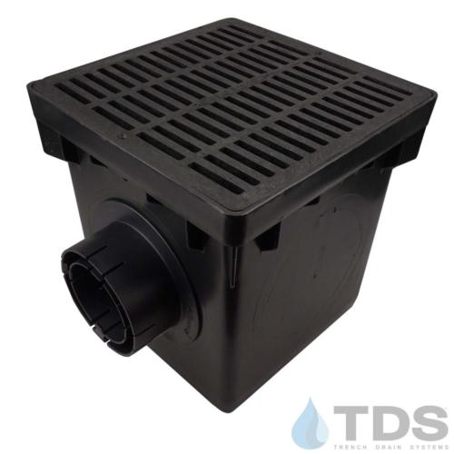 NDS-2outlet-catch-basin-4in-outlets-blk-slotted-grate-TDSdrains