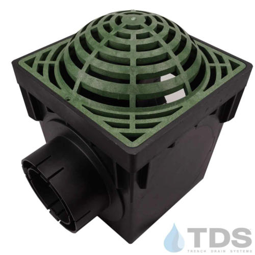 NDS-2outlet-catch-basin-4in-outlets-grn-atrium-grate-TDSdrains