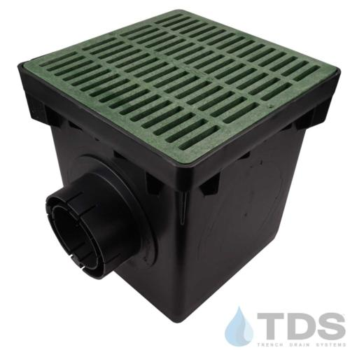 NDS-2outlet-catch-basin-4in-outlets-grn-slotted-grate-TDSdrains