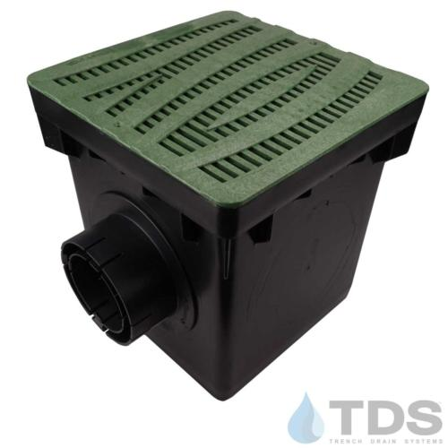 NDS-2outlet-catch-basin-4in-outlets-grn-wave-grate-TDSdrains