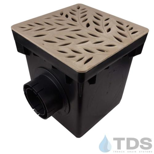 NDS-2outlet-catch-basin-4in-outlets-sand-botanical-grate-TDSdrains