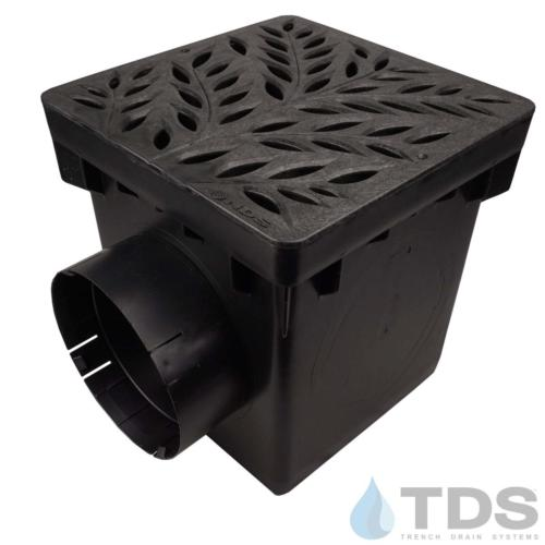 NDS-2outlet-catch-basin-6in-outlets-blk-botanical-grate-TDSdrains