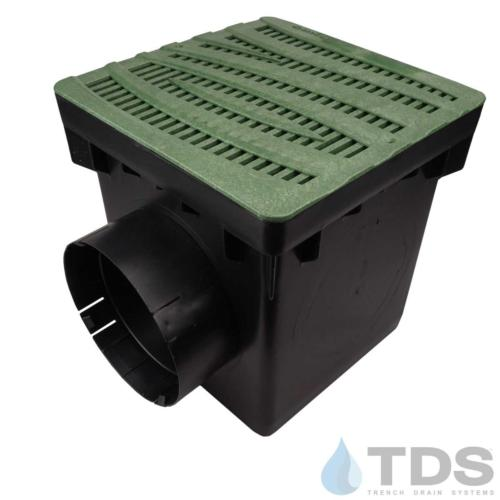 NDS-2outlet-catch-basin-6in-outlets-grn-wave-grate-TDSdrains