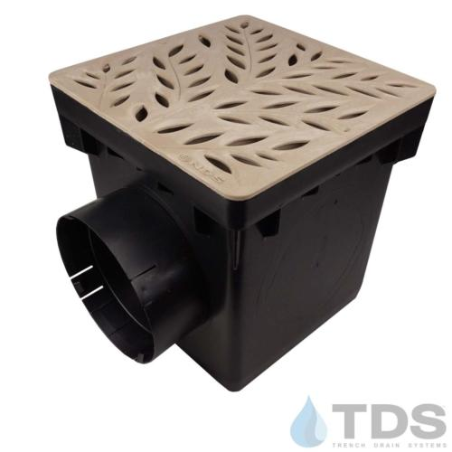 NDS-2outlet-catch-basin-6in-outlets-sand-botanical-grate-TDSdrains