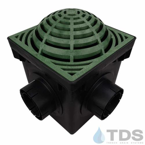 NDS-4outlet-catch-basin-4in-outlets-grn-atrium-grate-TDSdrains