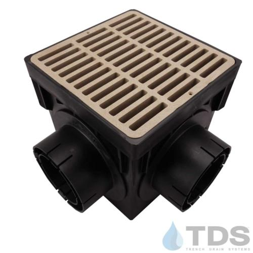 NDS-4outlet-catch-basin-4in-outlets-tan-slotted-grate-TDSdrains