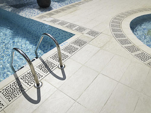 Jonite grates at pool/resort